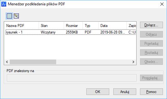 ZWCAD Menadżer podkładania plików PDF